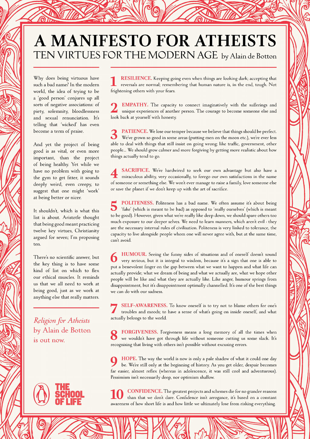 """A Manifesto for Atheists - Ten Virtues for a Modern Age"" by Alain de Botton"
